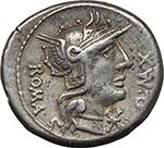 obverse:  Q. Fabius Maximus. AR Denarius, 127 BC.