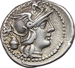 obverse:  C. Cassius. AR Denarius, 126 BC.