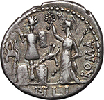 reverse:  M. Furius L.f. Philus. AR Denarius, 119 BC.