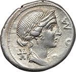 obverse:  Man. Aemilius Lepidus. AR Denarius, 114-113 BC.