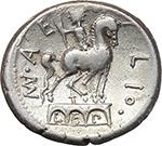reverse:  Man. Aemilius Lepidus. AR Denarius, 114-113 BC.