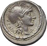 obverse:  L. Torquatus. AR Denarius, 113-112 BC.