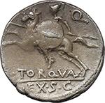 reverse:  L. Torquatus. AR Denarius, 113-112 BC.