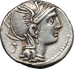 obverse:  Appius Claudius Pulcher, T. Manlius Mancinus and Q. Urbinius  AR Denarius, 111-110 BC.