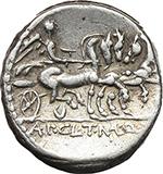 reverse:  Appius Claudius Pulcher, T. Manlius Mancinus and Q. Urbinius  AR Denarius, 111-110 BC.