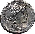 obverse:  T. Manlius Mancinus, Appius Claudius Pulcher and Q. Urbinius. AR Denarius, 111-110 BC.