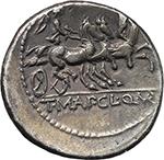 reverse:  T. Manlius Mancinus, Appius Claudius Pulcher and Q. Urbinius. AR Denarius, 111-110 BC.