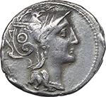 obverse:  C. Claudius Pulcher. AR Denarius, 110-109 BC.