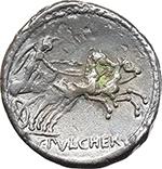 reverse:  C. Claudius Pulcher. AR Denarius, 110-109 BC.