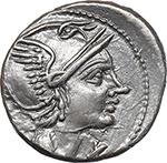 obverse:  L. Flaminius Chilo. AR Denarius, 109-108 BC.
