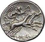 reverse:  L. Flaminius Chilo. AR Denarius, 109-108 BC.