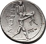 reverse:  M. Herennius. AR Denarius, 108-107 BC.