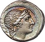 obverse:  M. Herennius. AR Denarius, 108-107 BC.