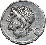 obverse:  L. Scipio Asiagenus. AR Denarius, 106 BC.