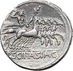 reverse:  L. Scipio Asiagenus. AR Denarius, 106 BC.