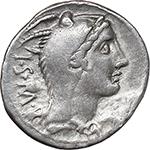 obverse:  L. Thorius Balbus. AR Denarius, 105 BC.