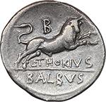 reverse:  L. Thorius Balbus. AR Denarius, 105 BC.