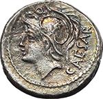 obverse:  L. Julius L.f. Caesar. AR Denarius, 103 BC.