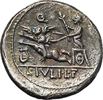 reverse:  L. Julius L.f. Caesar. AR Denarius, 103 BC.