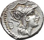 obverse:  D. Silanus. AR Denarius, 91 BC.