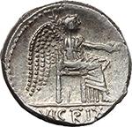 reverse:  M. Cato. AR Denarius, 89 BC.