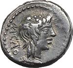 obverse:  M. Cato. AR Quinarius, 89 BC.