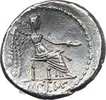 reverse:  M. Cato. AR Quinarius, 89 BC.