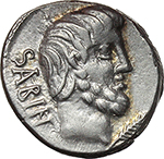 obverse:  L. Titurius L. f. Sabinus. AR Denarius, 89 BC.