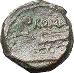 reverse:  Anonymous series, prow left. AE Quadrans, 86 BC.