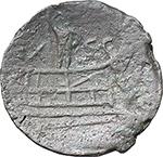 reverse:  C. Licinius L.f. Macer . AE As, 84 BC.