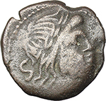 obverse:  Dolphin (late) series. AE Semis, after 82 BC. Unofficial issue? Sicily (?).