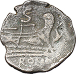 reverse:  Dolphin (late) series. AE Semis, after 82 BC. Unofficial issue? Sicily (?).
