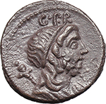 obverse:  Cn. Lentulus. AR Denarius, 76-75 BC.