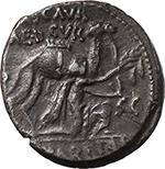 obverse:  M. Aemilius Scaurus e Pub. Plautius Hypsaeus. AR Denarius, 58 BC.