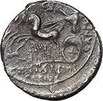 reverse:  M. Aemilius Scaurus e Pub. Plautius Hypsaeus. AR Denarius, 58 BC.