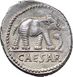 obverse:  Julius Caesar. AR Denarius, mint moving with Caesar, 49-48 BC.