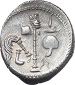 reverse:  Julius Caesar. AR Denarius, mint moving with Caesar, 49-48 BC.