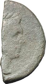 obverse:  Sextus Pompey. Halved As, Sicily after 45 B.C.