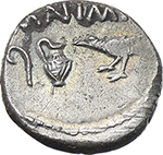obverse:  Lepidus and Mark Antony. AR Quinarius, Gallia Transalpina, 43 BC.