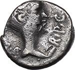 obverse:  Mark Antony AG Quinarius, 43-42 BC. Gallia Transalpina and Cisalpina.