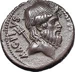 obverse:  Sextus Pompey. AR Denarius, 42-40 BC., Sicily.