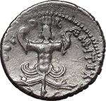 reverse:  Sextus Pompey. AR Denarius, 42-40 BC., Sicily.