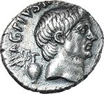 obverse:  Pompey the Great. AR Denarius, 42-40 BC., Sicily.