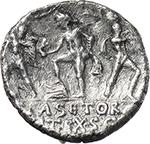 reverse:  Pompey the Great. AR Denarius, 42-40 BC., Sicily.