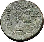 obverse:  Octavian with Divos Iulius Bronze. Italy, circa 38 BC.