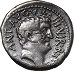 obverse:  Mark Antony. AR Denarius, 37 BC., mint moving with M. Antony.