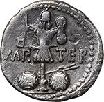 reverse:  Mark Antony. AR Denarius, 37 BC., mint moving with M. Antony.