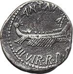obverse:  Mark Antony. AR Denarius, mint moving with Mark Antony, 32-31 BC.