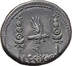reverse:  Mark Antony. AR Denarius, mint moving with Mark Antony, 32-31 BC.