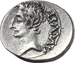 obverse:  Augustus (27 BC. - 14 AD.). AR Quinarius, Emerita mint, Spain. P. Carisius Legate, 25-23 BC.
